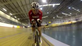 A Welsh cyclist training in a velodrome