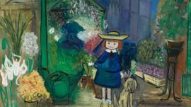 Painting of the character Madeline in a flower shop