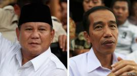 Combination image shows Indonesian presidential candidates Prabowo Subianto (L) and Joko