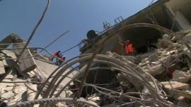 Building destroyed by Israeli airstrike in Khan Younis