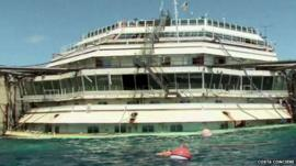 Still from footage released by Costa Conciere shows the Costa Concordia wreck, as viewed from a boat