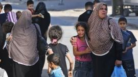 Women and children in Gaza City