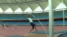 athlete in Delhi's olympic stadium