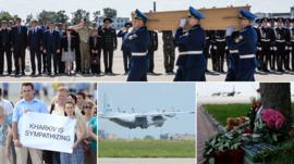 From clockwise top, a coffin is carried to a military plane at Kharkiv airport bound for Holland, flowers are left at the airport following a ceremony for the victims of MH17, the flight carrying the bodies takes off, Ukrainian citizens hold up a sign which reads