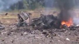 Unverified footage of aircraft debris (Courtesy: icorpus.ru)
