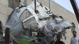 Mangled wreckage of Flight GE222