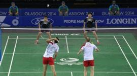 Malaysia and England badminton players during the Mixed Teams final at Glasgow 2014