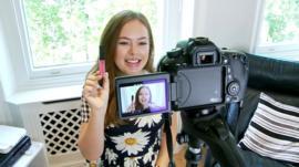 Tanya Burr making a video blog