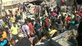 Scene of reported Israeli air strike in Gaza