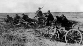 A Belgian machine gun detachment near Haelen, August 1914