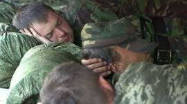 Ukrainian soldiers sleeping