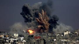 A bomb hits Gaza city