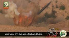 Hamas video showing a rocket launching