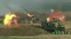 Israeli tank firing