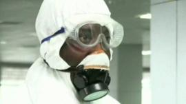 Close up of man in protective gear