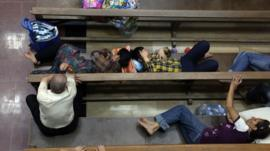 Displaced Christians sleeping in a church in Irbil