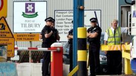 Police at Tilbury Docks on 16 August 2014