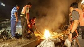 Aftermath of strike in Gaza
