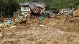 Rescue team at Hiroshima prefecture landslide