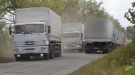 Russian aid trucks on the main road to Luhansk