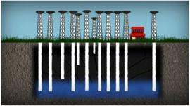 graphic illustration of drilling for water