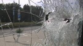 Bullet hole in glass window