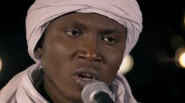 Aliou Toure lead singer of Songhoy Blues