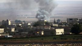 Smoke rise over Kobani