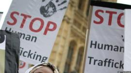 Placards calling for an end to human trafficking
