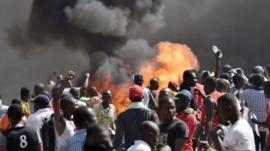 Protesters in Ouagadougou