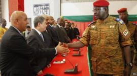 New military leader Lt Col Isaac Zida has held talks with diplomats in an attempt to end the crisis