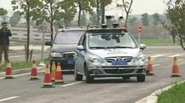 A driverless car in the competition