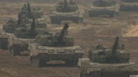 Line of armoured vehicles