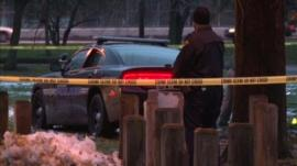Crime scene with police tape