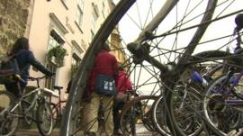 Students and bicycles