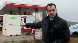 Damian Grammaticas at petrol station