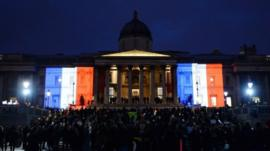 National Gallery illuminated in red, white and blue