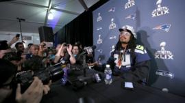 Seattle Seahawks' Marshawn Lynch at a news conference ahead of Sunday's NFL Super Bowl, Phoenix, 28 January 2015