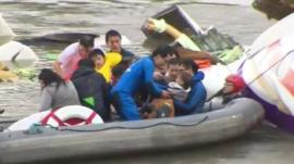 Toddler being rescued