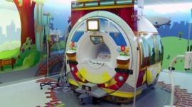 A MRI suite decorated to appeal to children