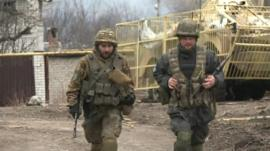 Two soldiers on the ceasefire line