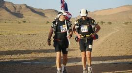 Sir Ranulph Fiennes with his trainer