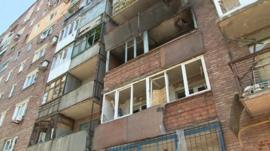 A shelled apartment block
