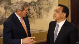 US Secretary of State John Kerry and Chinese Premier Li Keqiang