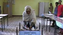 A voter casts their ballot in Ethiopia's last election