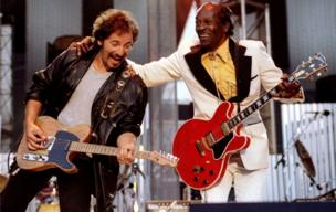 "Bruce Springsteen and Chuck Berry perform ""Johnny B. Good"" to open The Concert for the Rock and Roll Hall of Fame on 2 September, 1995 at Cleveland Stadium."