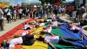 Manifestantes em Brasília