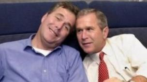 'Jeb Bush and George W Bush in 2000' from the web at 'http://ichef-1.bbci.co.uk/news/304/cpsprodpb/1688C/production/_86600329_bushesap.jpg'