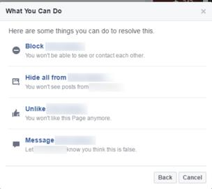 Facebook screen for reporting content