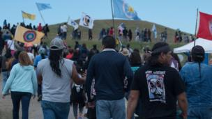 Daily demonstrations, led by a few hundred people, take place along the road leading to the Dakota Access pipeline construction site on most day